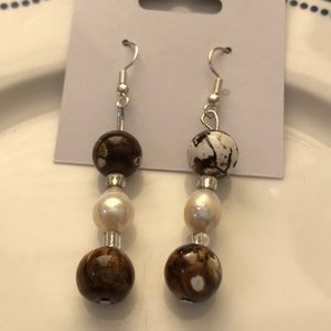 Hand Crafted Amber Beaded and Pearl Earrings